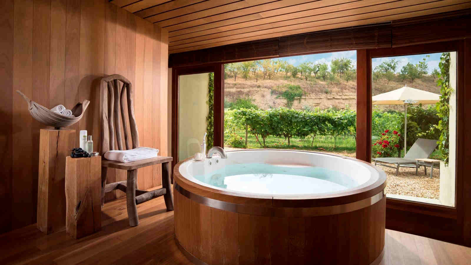 Barrel bath overlooking the Marqués de Riscal vineyards